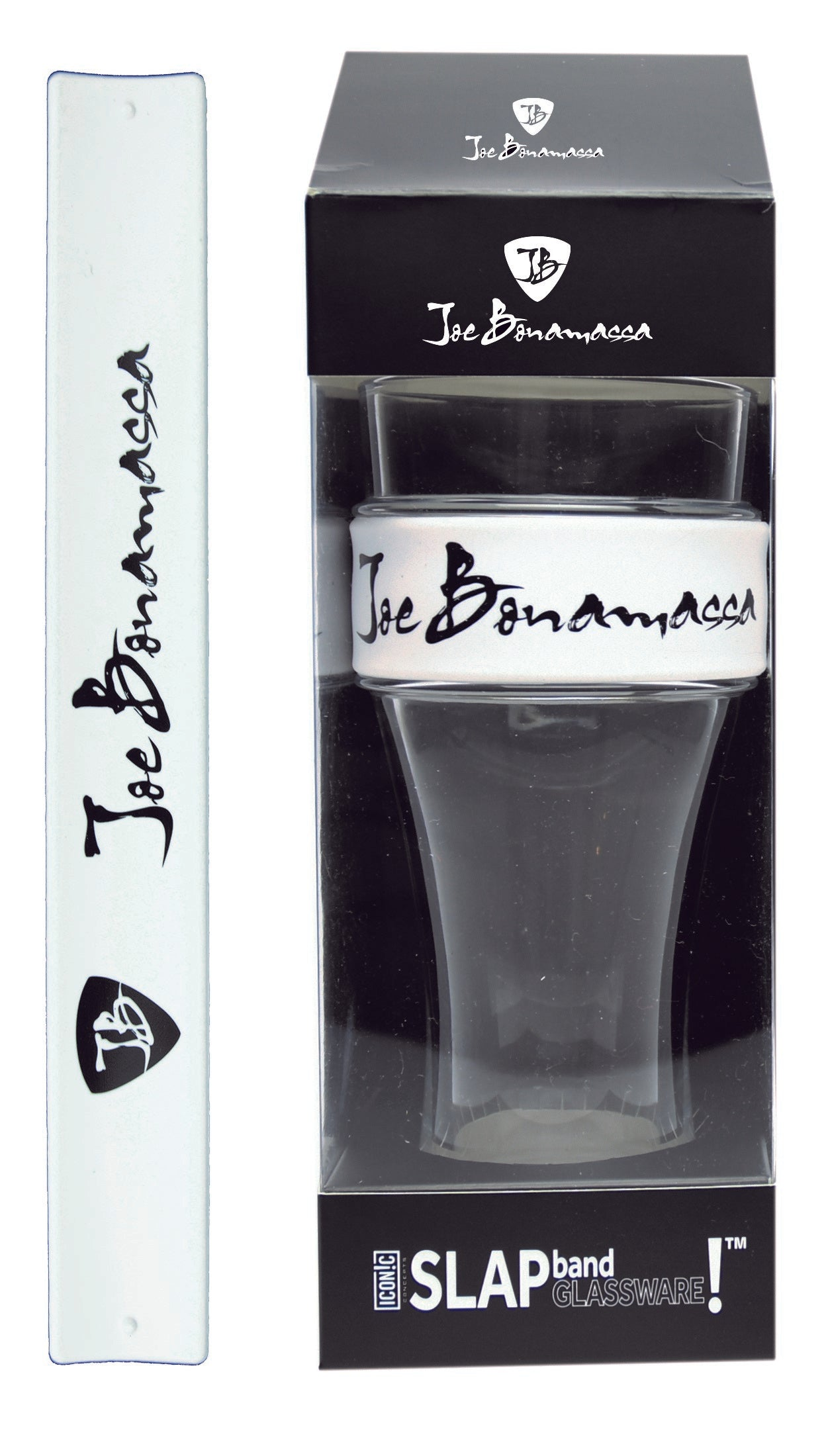 Joe Bonamassa - Slap Band Glassware - Single Pack with Slap Band Joe Bonamassa White Band/Black Logo