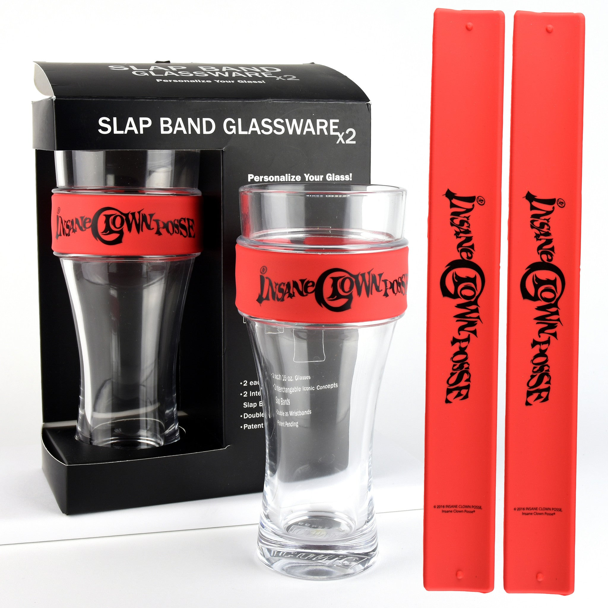 Insane Clown Posse Slap Band Glassware - 2 Pack with Slap Band Insane Clown Posse Logo - Red Band w/Black Logo