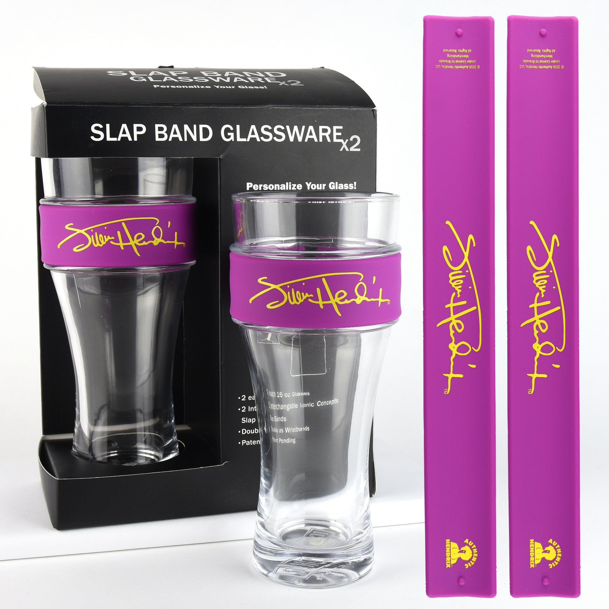 Jimi Hendrix - 2 Pack Slap Band Glassware Purple Slap Band w/Yellow Jimi Hendrix Logo