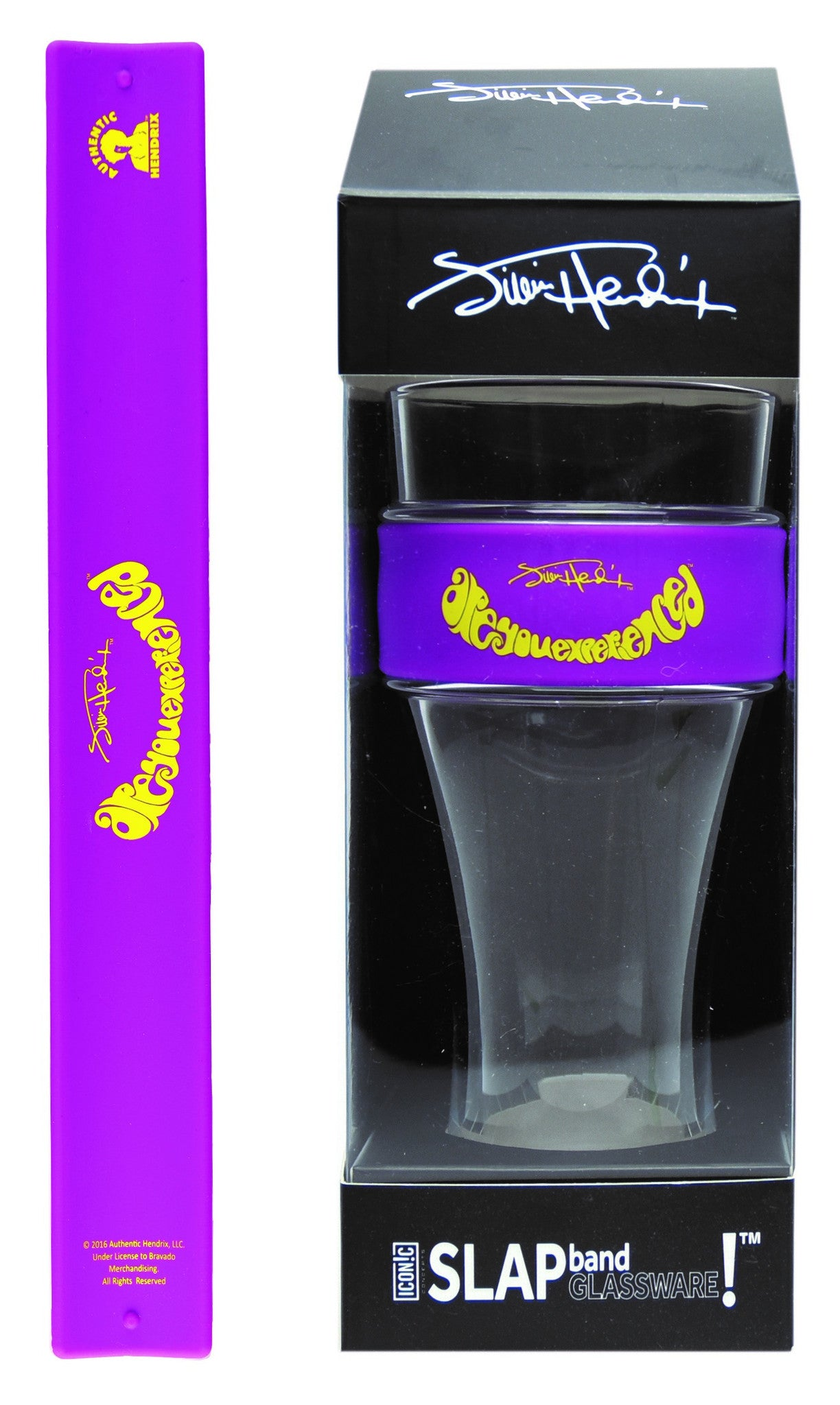 "Jimi Hendrix Slap Band Glassware - Single Pack with Slap Band Jimi Hendrix Purple Band/Yellow ""Are you experienced"""