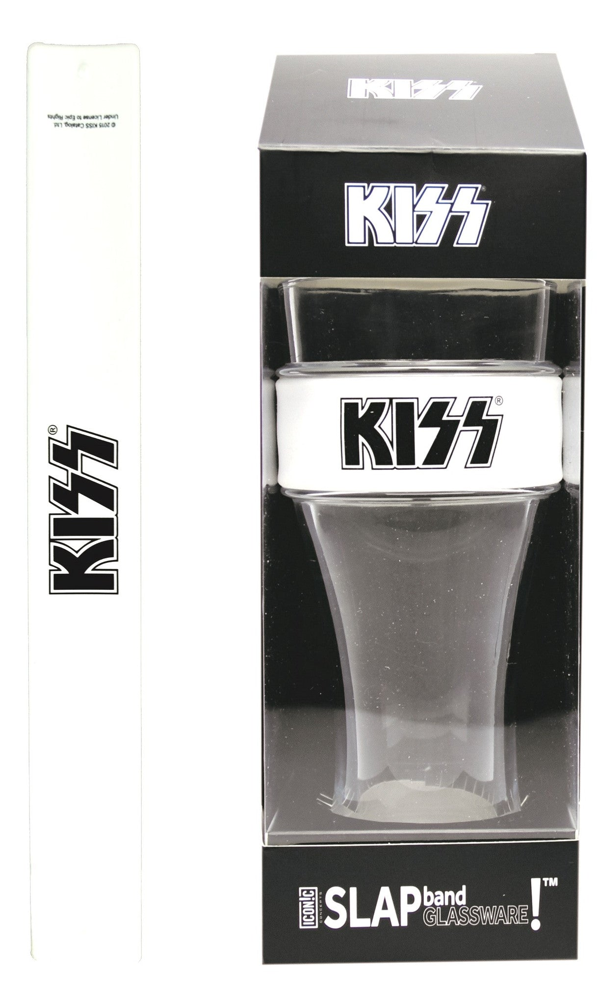 KISS Slap Band Glassware - Single Pack with Slap Band KISS White Band/Black Logo