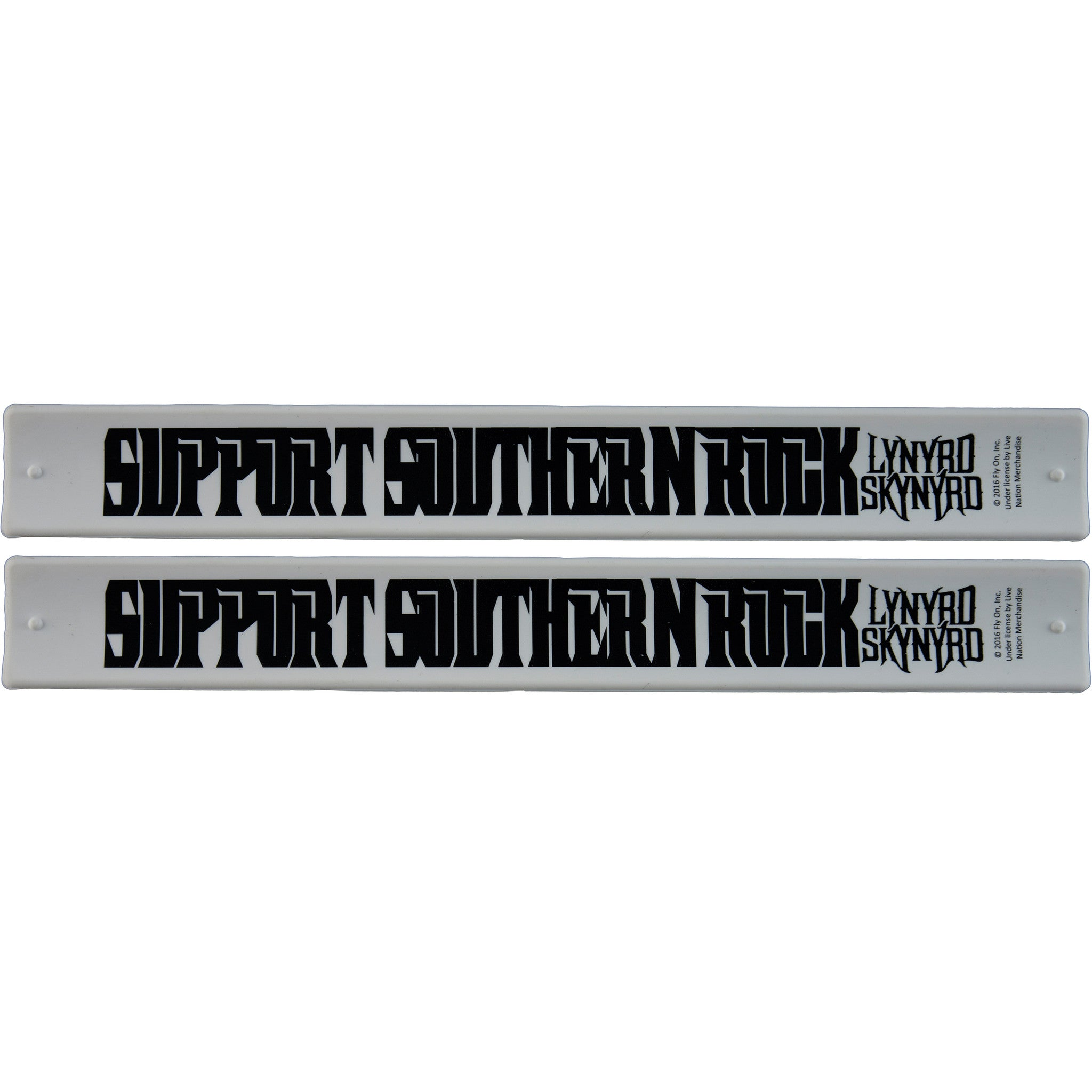 "Lynyrd Skynyrd Slap Band 2 Pack White w/Black ""Support Southern Rock"" and Lynyrd Skynyrd  Logo"