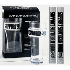 "Lynyrd Skynyrd 2 Pack Slap Band Glassware White w/Black ""Support Southern Rock"" and Lynyrd Skynyrd Logo"