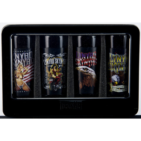 Lynyrd Skynyrd 4 Piece Shot Glass Set with Aluminum Sleeves