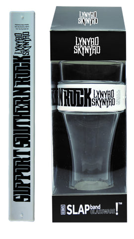"Lynyrd Skynyrd Slap Band Glassware - Single Pack with Slap Band Lynyrd Skynyrd White Band/Black ""Support Southern Rock"""