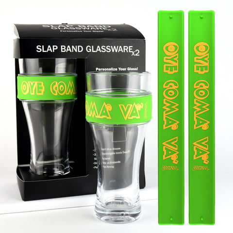 Santana - 2 Pack Slap Band Glassware Green Slap Band w/Yellow Oye Como Va Graphic