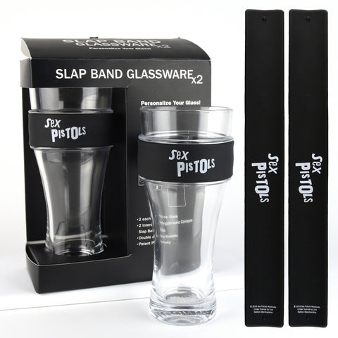 Sex Pistols Slap Band Glassware - 2 Pack with Slap Band Sex Pistols Logo - Black Band w/White Logo