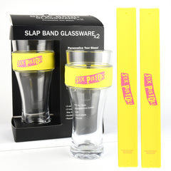 Sex Pistols Slap Band Glassware - 2 Pack with Slap Band Sex Pistols Logo - Yellow Band w/Pink Logo