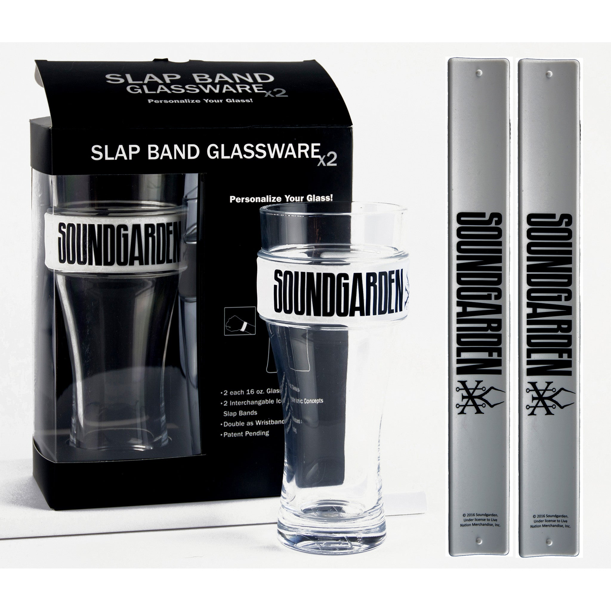 Soundgarden Slap Band Glassware - 2 Pack Slap Band Glassware w/White Slap Band w/Black Soundgarden Logo