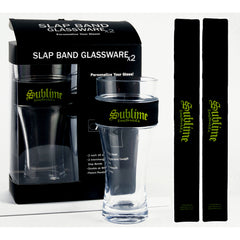 Sublime 2 Pack Slap Band Glassware - Black w/Yellow Sublime Logo