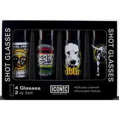 Sublime 4 Piece Shot Glass Set with Aluminum Sleeves