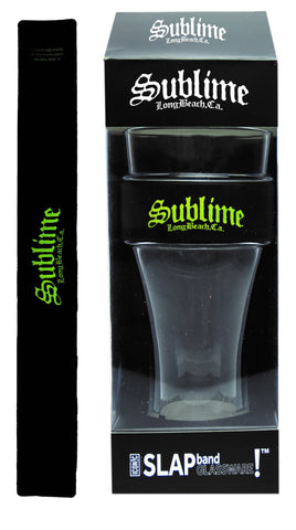 Sublime Slap Band Glassware - Single Pack Slap Band Glassware -  Sublime Black Band/Yellow Logo