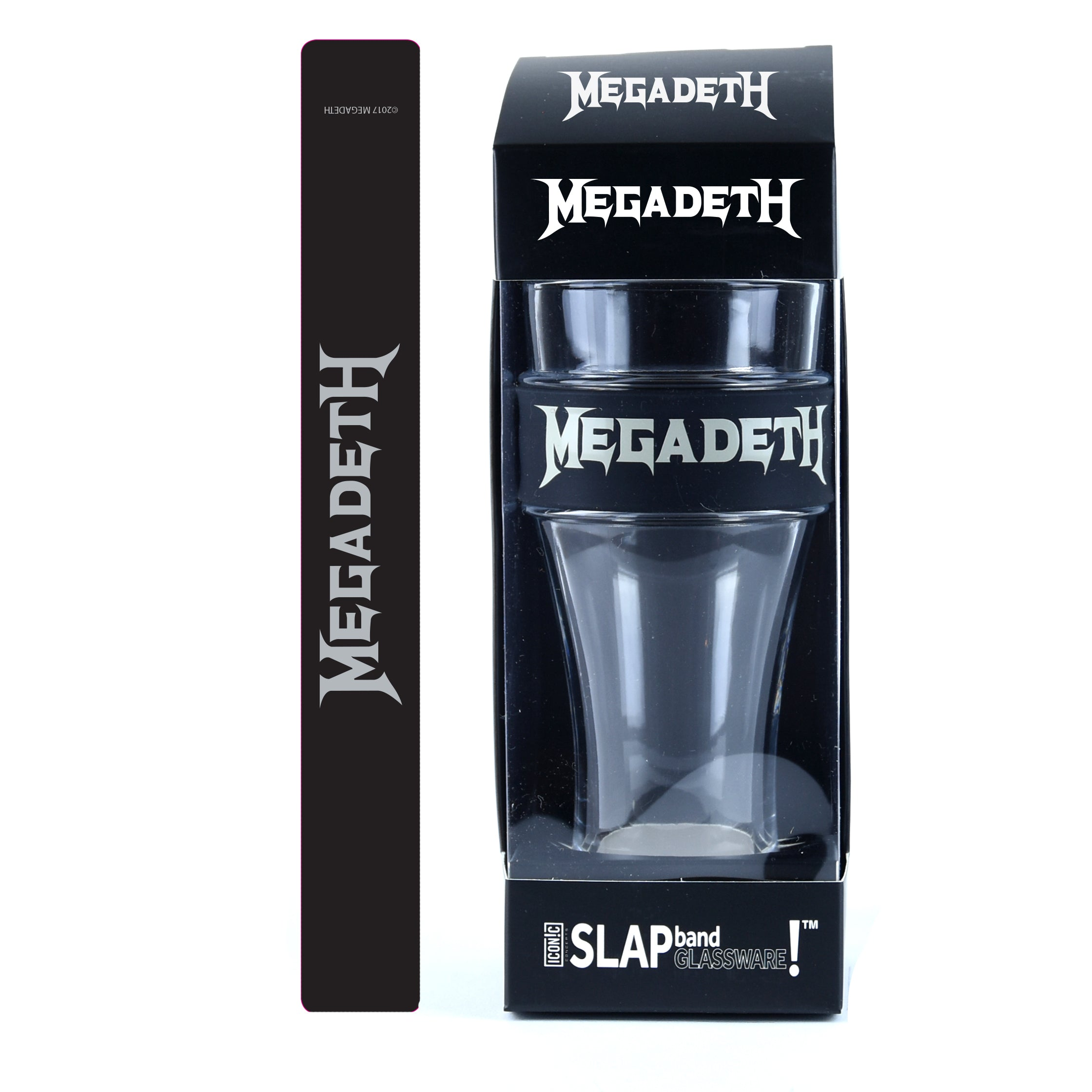 Megadeth Single Pack Slap Band Glassware includes Silicone Wrapped Slap Band Black w/Silver Logo
