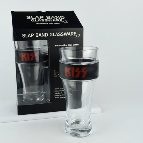 KISS® 2 Pack Slap Band Glassware (Black w/Red Logo)