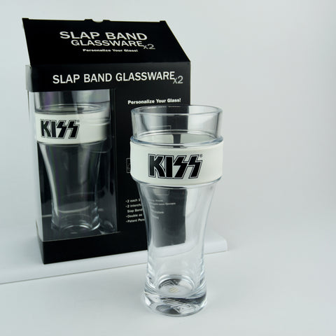 KISS® 2 Pack Slap Band Glassware (White w/Black Logo)