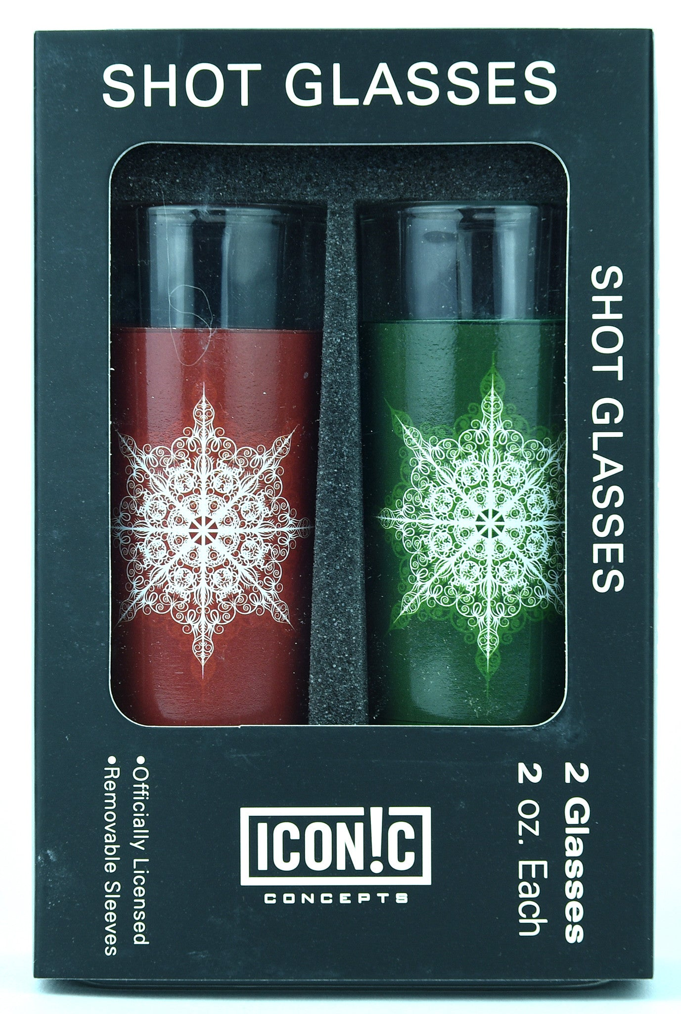 Holiday Shot Glasses 2Pack With Aluminum Sleeves - Red And Green