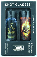Halloween Shot Glasses 2Pack With Aluminum Sleeves - Skulls