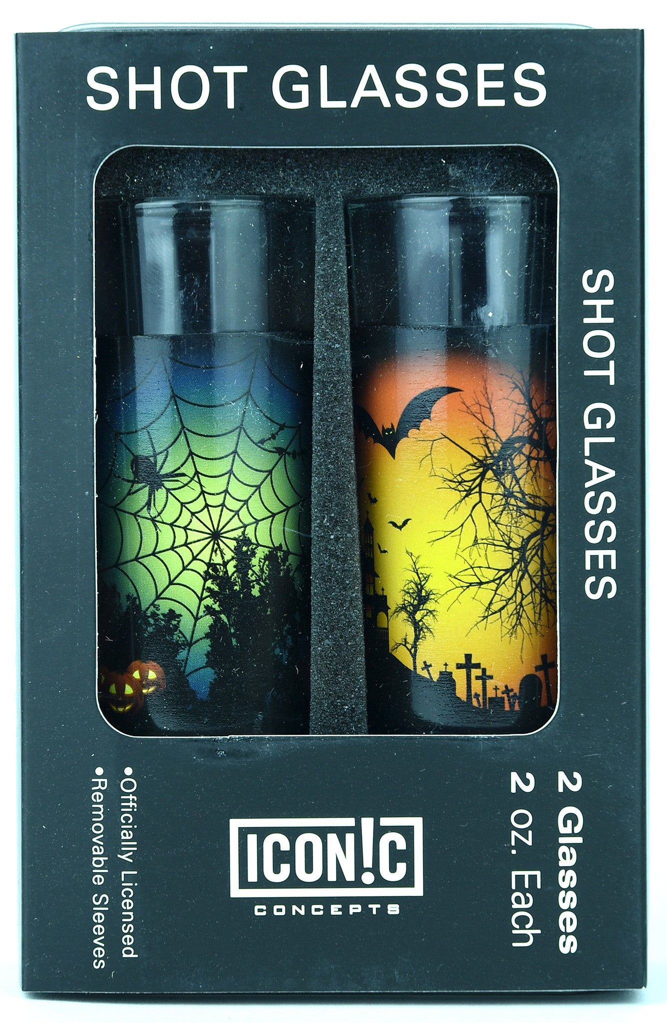Halloween Shot Glasses 2Pack With Aluminum Sleeves - Orange Moon And Spider