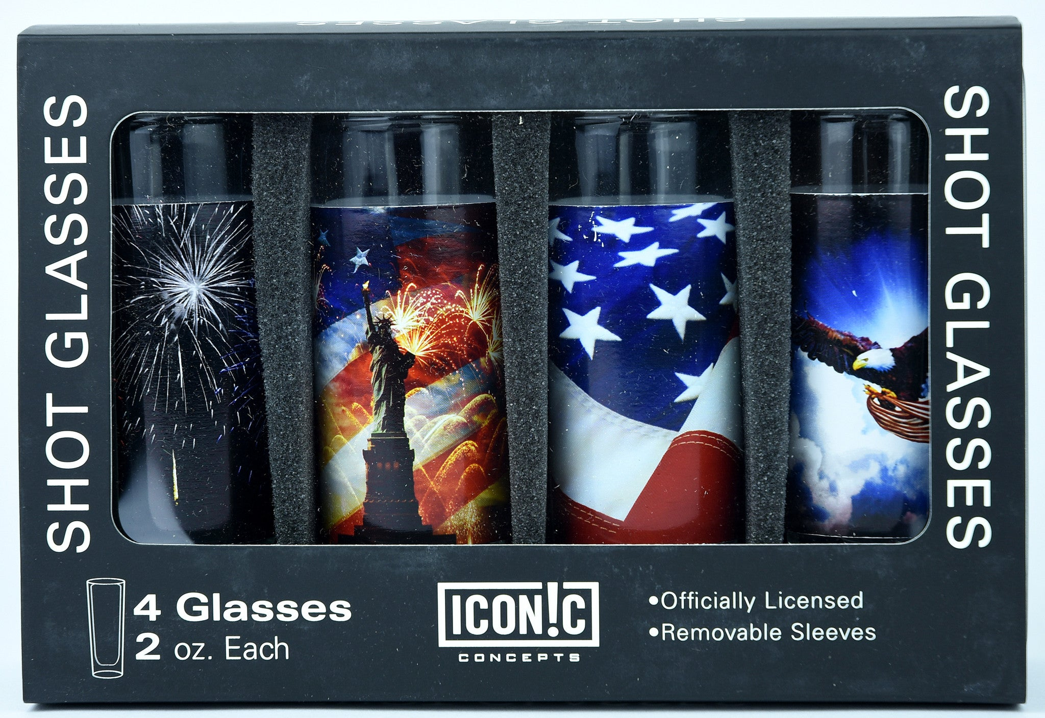 Patriotic Shot Glasses 4Pack With Aluminum Sleeves