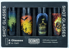 Halloween Shot Glasses 4Pack With Aluminum Sleeves