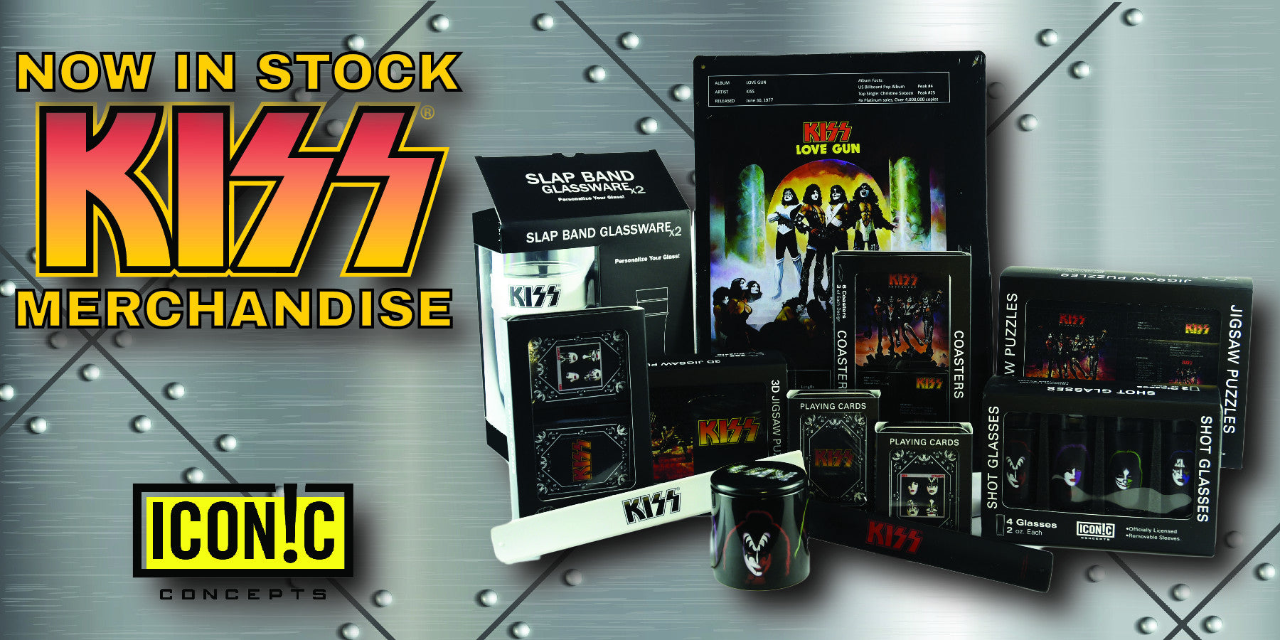 See the All New KISS® Line From Iconic Concepts Including Barware, Puzzles, Playing Cards, Wall Decor and Other Giftware!!!
