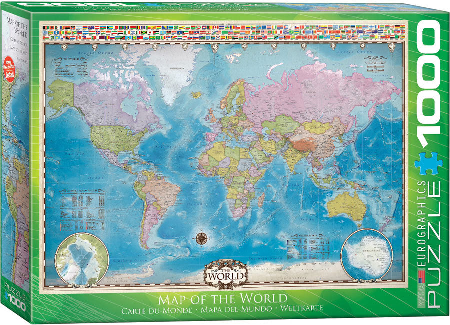 Eurographics  - Map of the World with Flags, 1000 PC Puzzle
