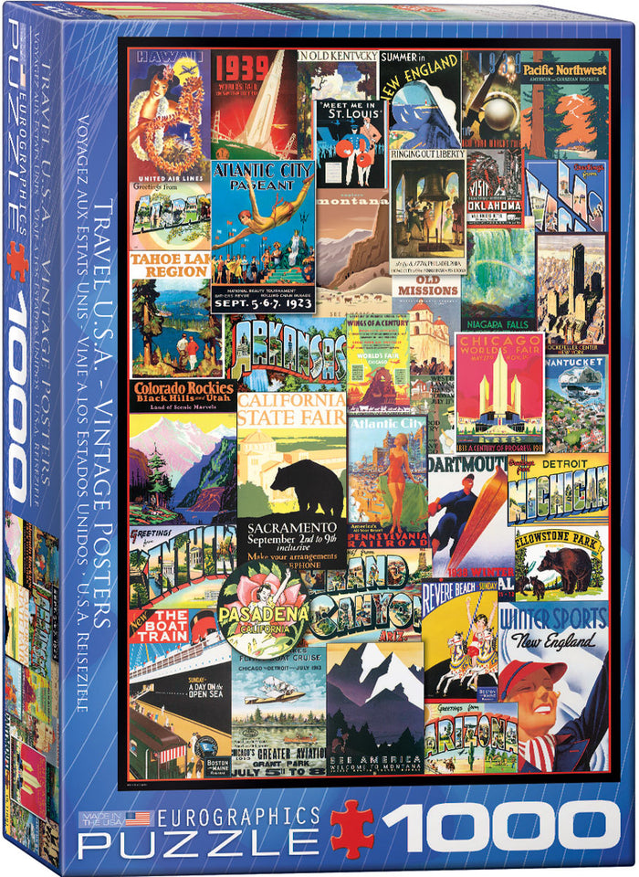 Eurographics  - Travel USA - Vintage Posters , 1000 PC Puzzle