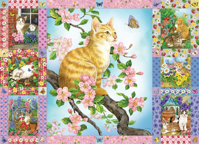 Cobble Hill - Blossoms and Kittens Quilt, 1000-Piece