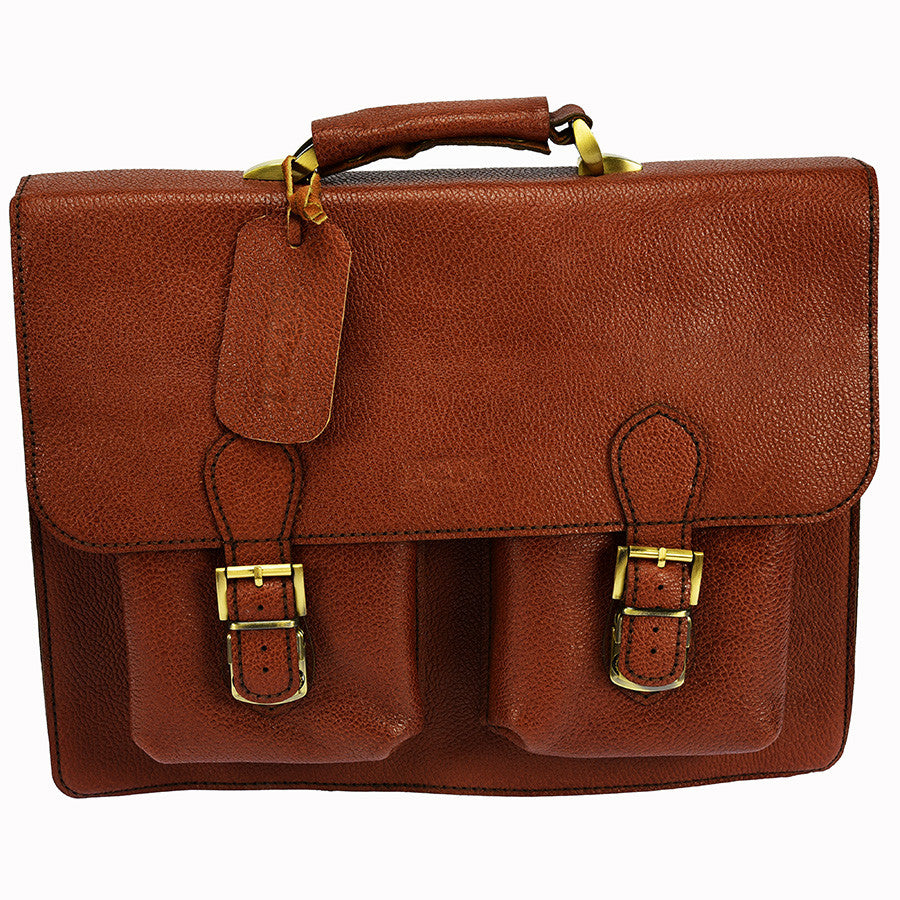 PEZON - Genuine Leather Handmade Business Bag - Cielo Brown Goat