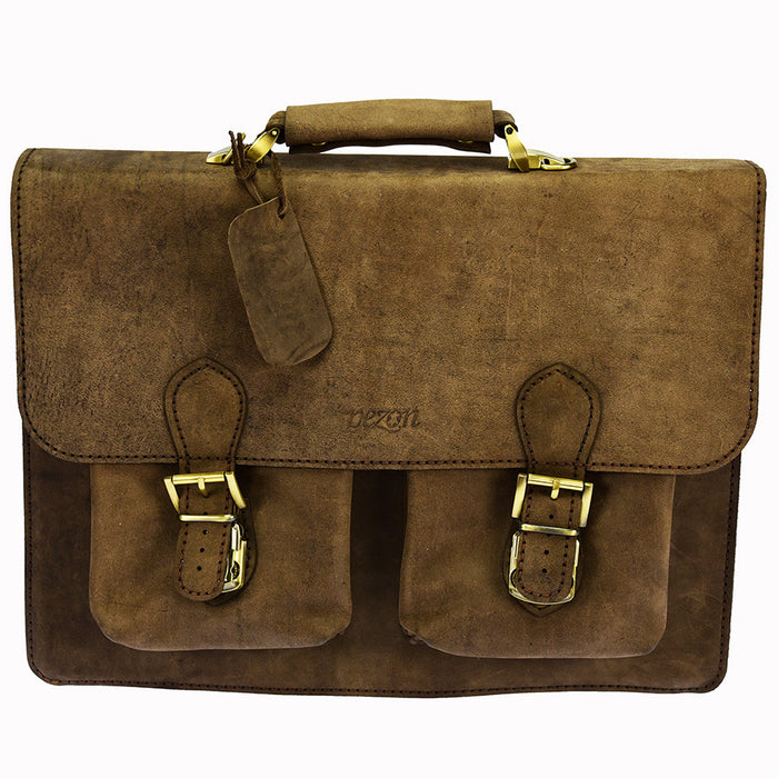 PEZON - Genuine Leather Handmade Business Bag - Cielo Crazy Horse