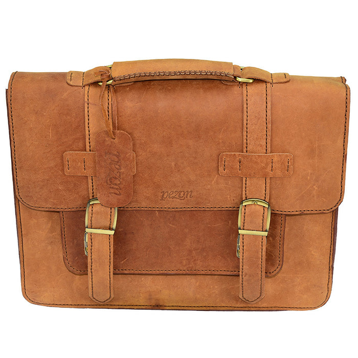 PEZON - Genuine Leather Handmade Business Bag - Infinity Tan