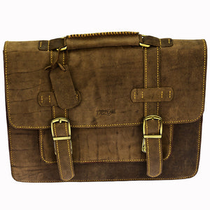PEZON - Genuine Leather Handmade Business Bag - Infinity Brown