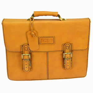 PEZON - Genuine Leather Handmade Business Bag - Kangaroo Orange
