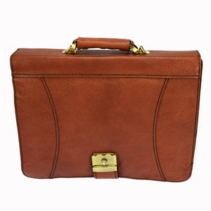 PEZON - Genuine Leather Handmade Business Bag - Triple Brown