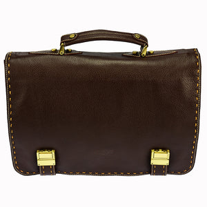PEZON - Genuine Leather Business Bag - Hawk Brown
