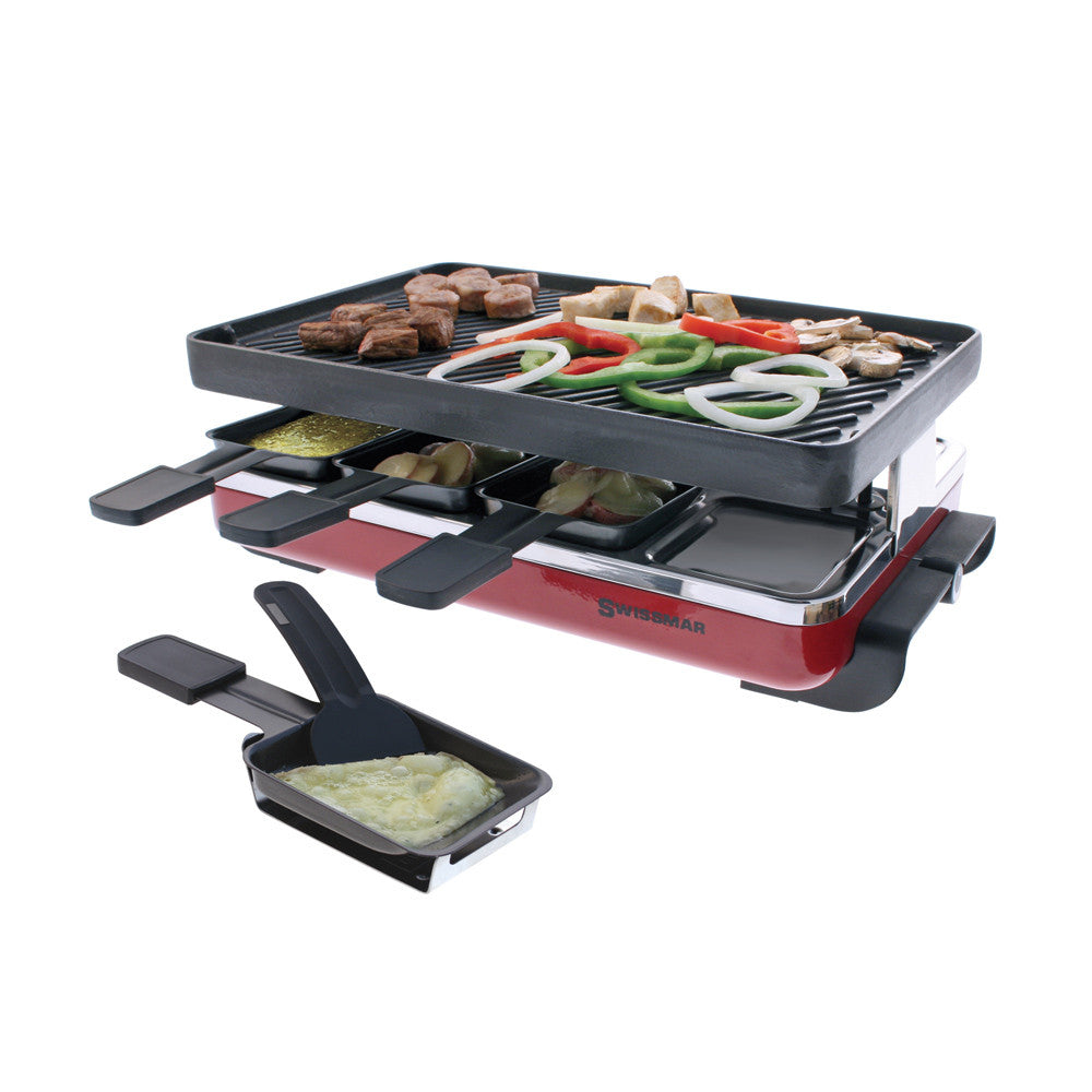 Swissmar - Raclette-8 Person Raclettest Iron Grill Plate (Red)