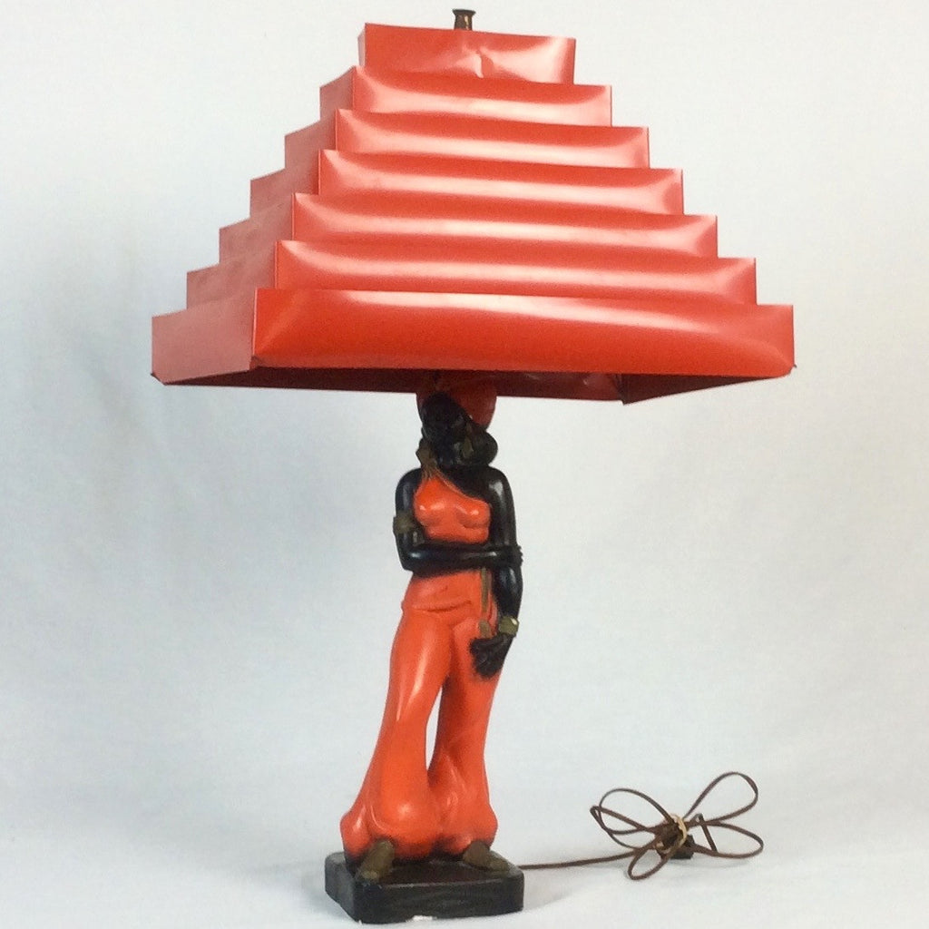 1950s african lady lamp with venetian blind shade soleilz 1950s african lady lamp with venetian blind lampshade aloadofball Choice Image