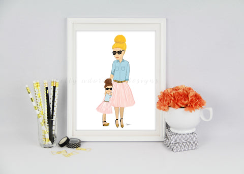 Mother And Daughter Duo Art Print