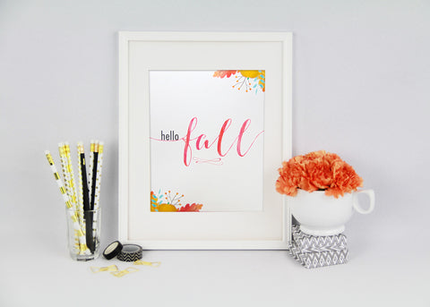 Hello Fall Watercolour Printable Art Print