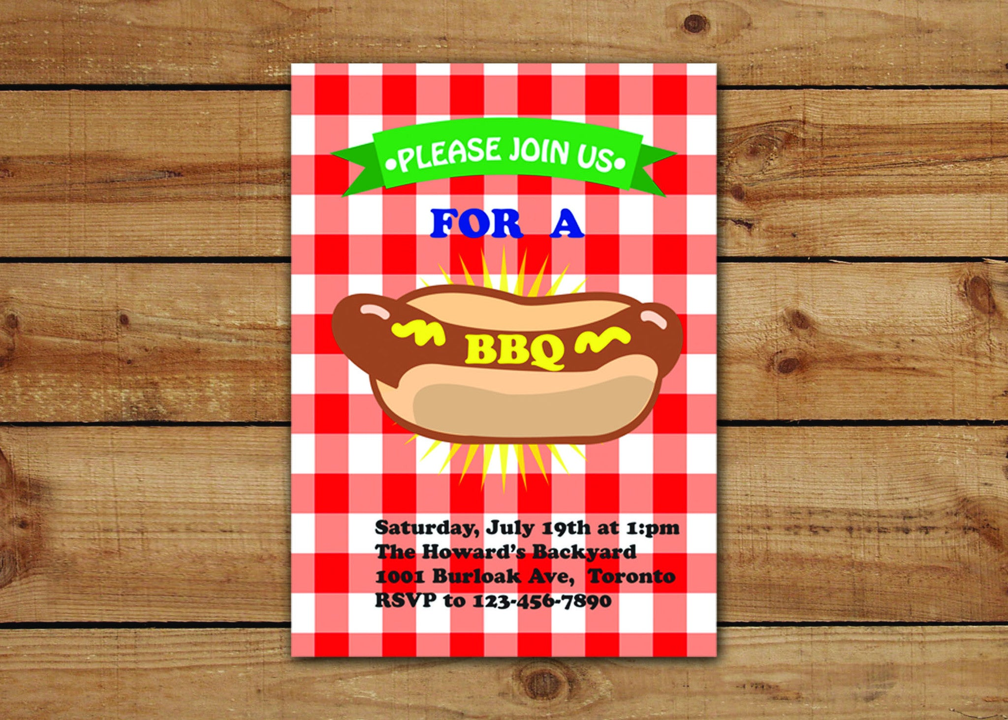 Red And White Gingham BBQ Invitations – Pretty Adorable Designs