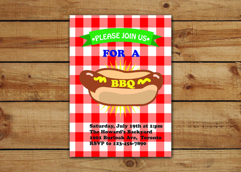 Red And White Gingham BBQ Invitations