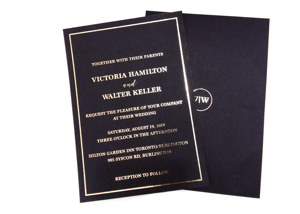 Black and Gold Foil Wedding  Invitations
