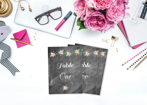 Printable Chalkboard Floral Table Numbers 1-20
