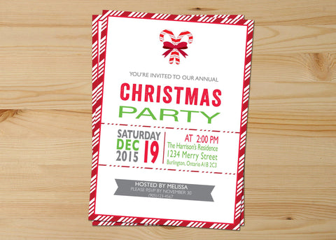 Red and White Candycane Christmas Invitations