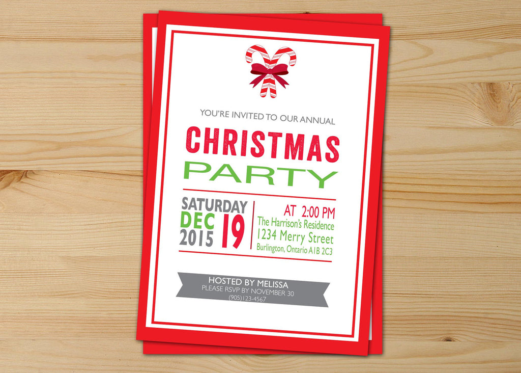 Red And White  Christmas Invitations