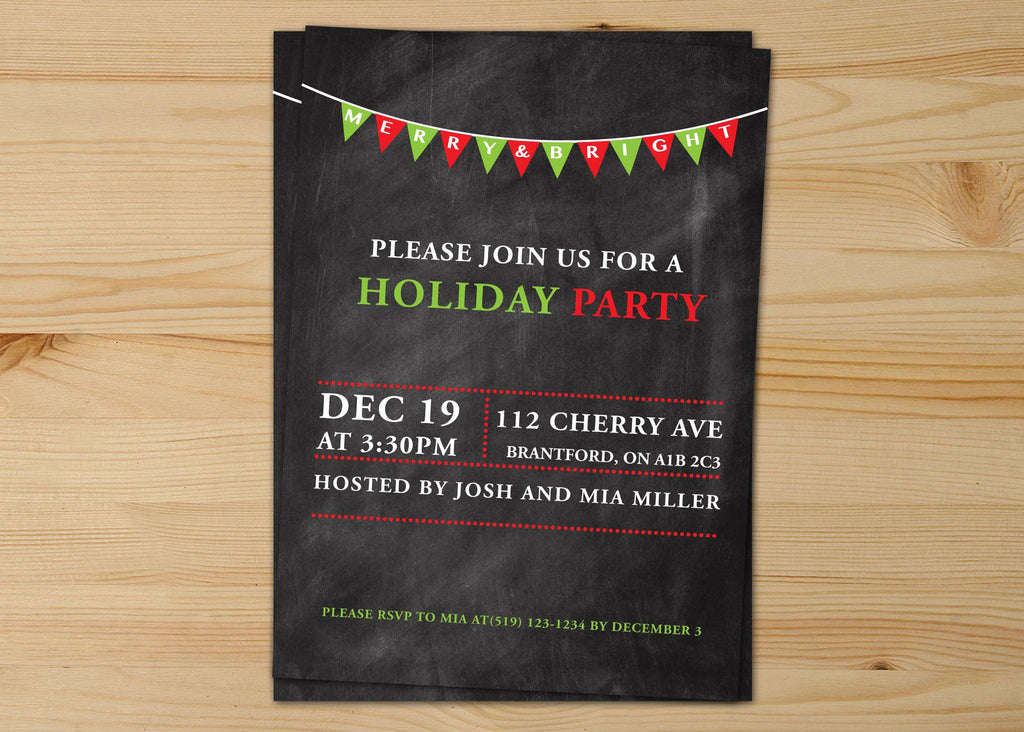Merry And Bright Chalkboard Christmas Invitations