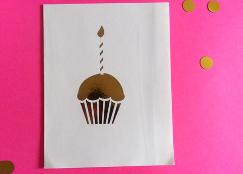 Gold Foil Birthday Cupcake Cards