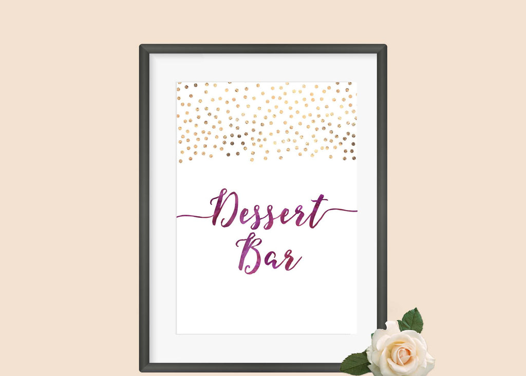 Confetti And Watercolour Dessert Bar Sign