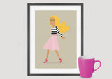 Striped Top And Pink Tulle Outfit Art Print