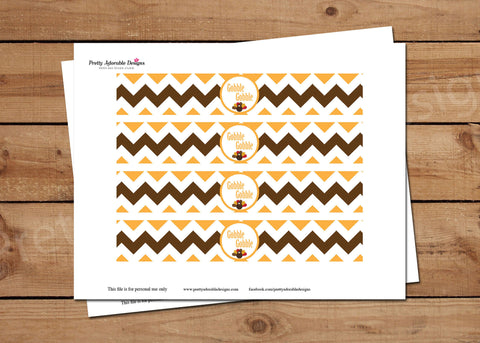 Printable Gobble Gobble Thanksgiving Water Bottle Labels